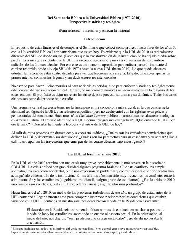 Del Seminario Bíblico a la Universidad Bíblica (1970-2010):Perspectiva histórica y teológica(Para refrescar la memoria y e...