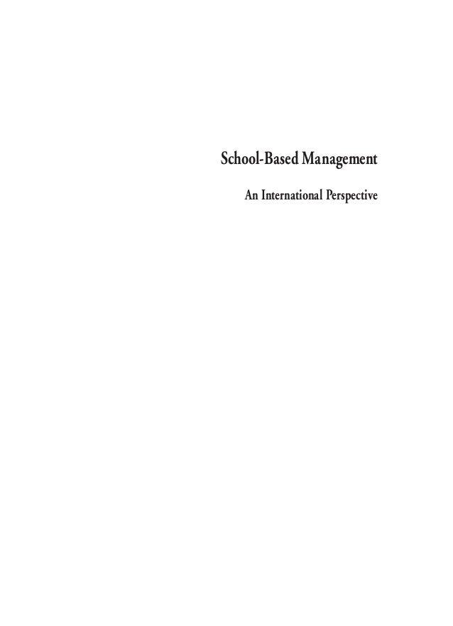 School-Based Management An International Perspective  ÷  6.  1  05/04/2003, 10:55
