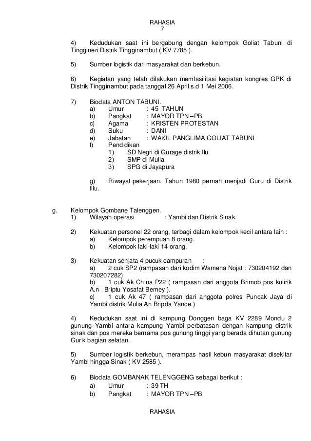 Laporan Informasi Satuan Tugas Bantuan 7sbm Sattis 1 Timika Juni 2009