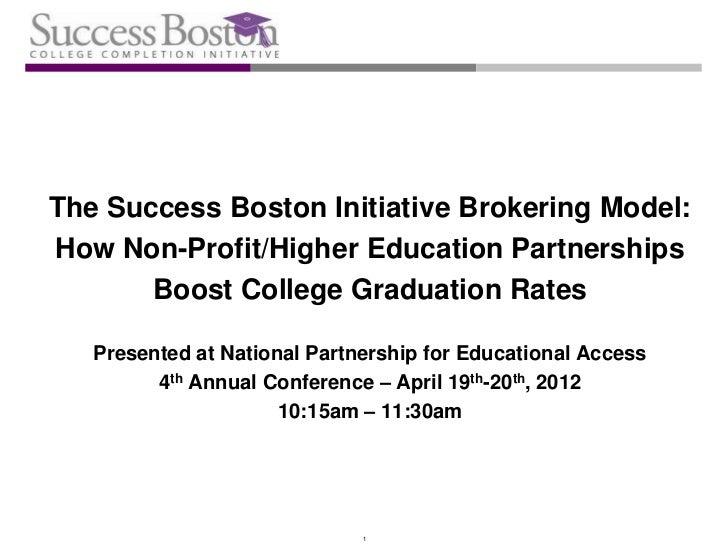 The Success Boston Initiative Brokering Model:How Non-Profit/Higher Education Partnerships       Boost College Graduation ...