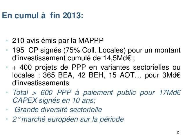 En cumul à fin 2013: • 210 avis émis par la MAPPP • 195 CP signés (75% Coll. Locales) pour un montant d'investissement cum...