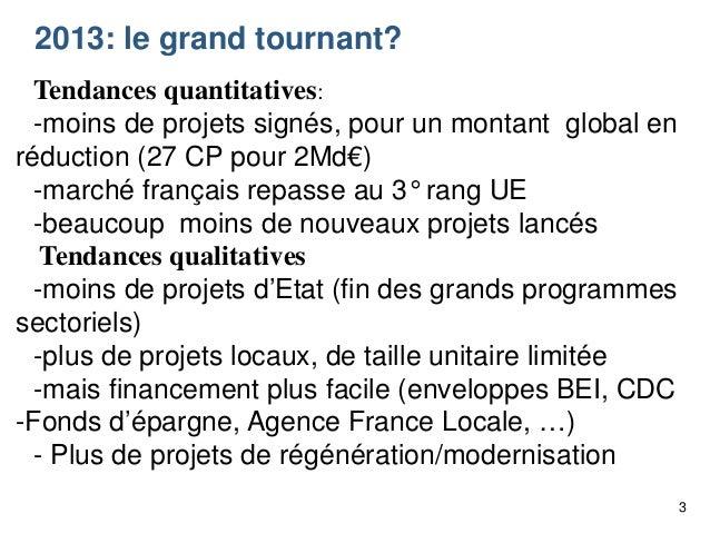 2013: le grand tournant? Tendances quantitatives: -moins de projets signés, pour un montant global en réduction (27 CP pou...