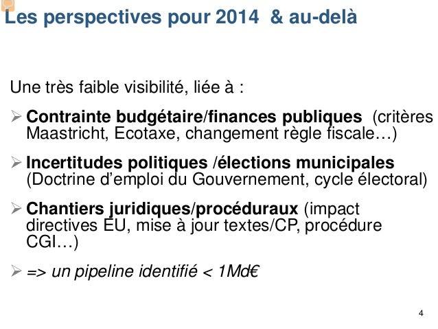 Les perspectives pour 2014 & au-delà  Une très faible visibilité, liée à :  Contrainte budgétaire/finances publiques (cri...