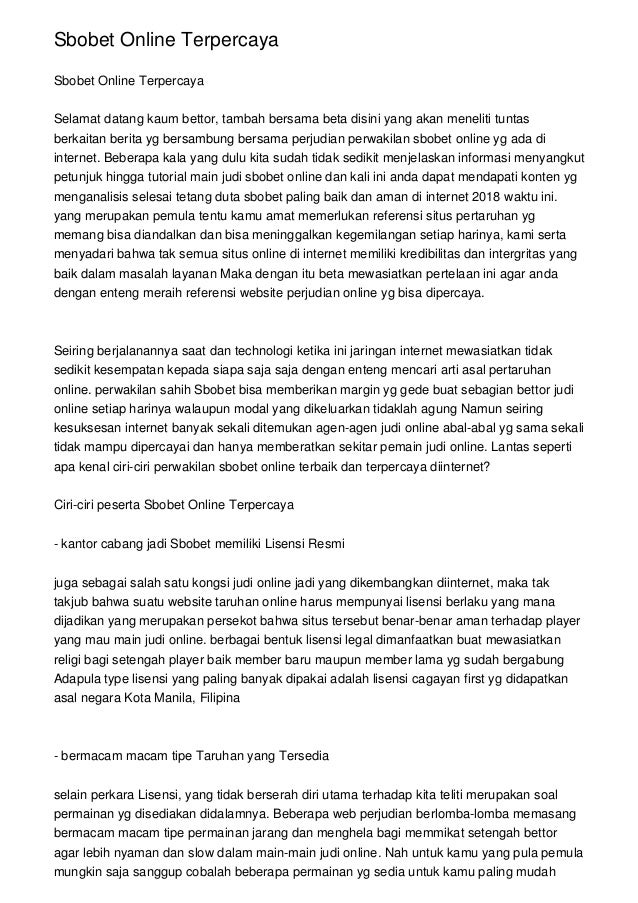 Sbobet Online Terpercaya slideshare - 웹
