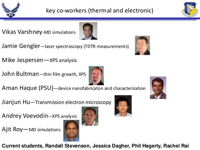 key co-workers (thermal and electronic)  Vikas Varshney-MD simulations  Jamie Gengler—laser spectroscopy (TDTR measurement...