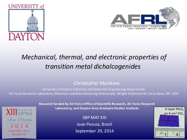 Mechanical, thermal, and electronic properties of  transition metal dichalcogenides  Christopher Muratore  University of D...