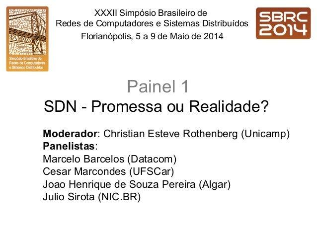 Painel 1 SDN - Promessa ou Realidade? Moderador: Christian Esteve Rothenberg (Unicamp) Panelistas: Marcelo Barcelos (Datac...