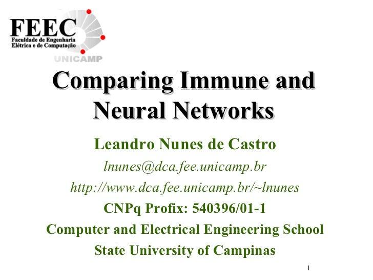 Comparing Immune and Neural Networks Leandro Nunes de Castro [email_address] http://www.dca.fee.unicamp.br/~lnunes CNPq Pr...