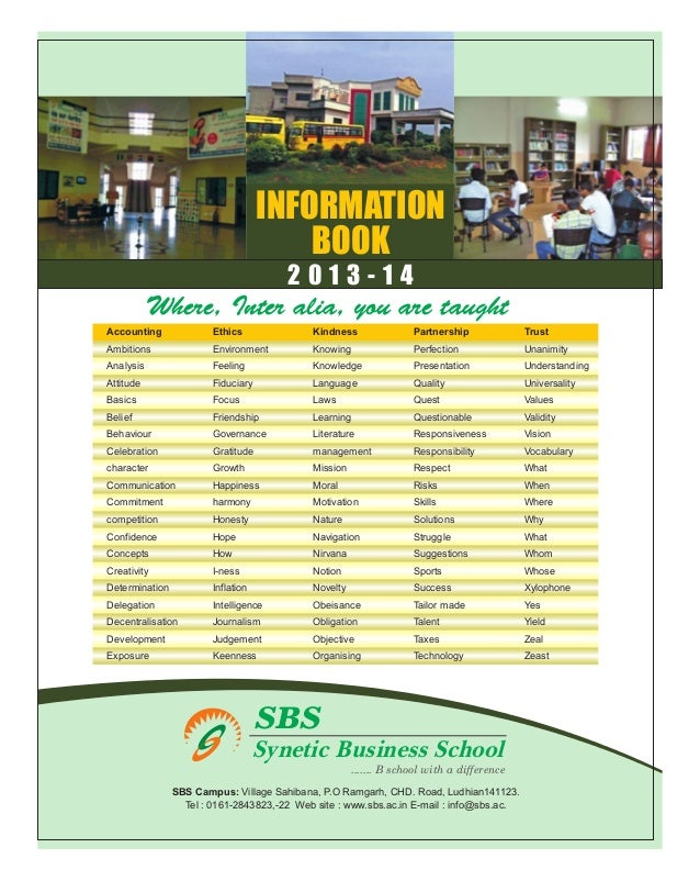 INFORMATION                                        BOOK                                       2013-14           Where, Int...