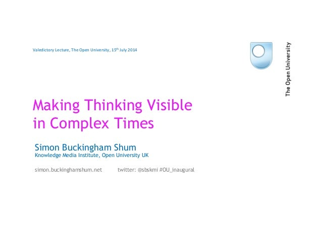Making Thinking Visible in Complex Times Simon Buckingham Shum Knowledge Media Institute, Open University UK simon.bucking...