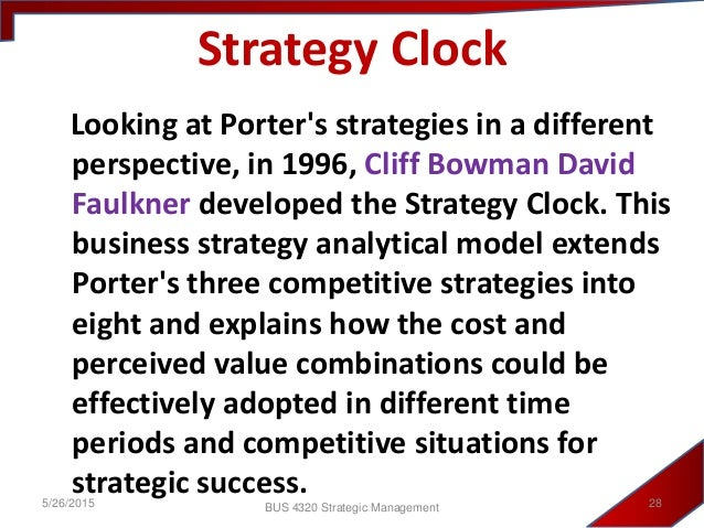 bowman s strategy clock bmw Bowman's strategy clock is an excellent strategy tool for defining your organization's market position this method breaks down your potential strategy options into eight segments these are - low price/low value, low price, hybrid, differentiation, focused differentiation, increased price/standard product, high price/low value & low.