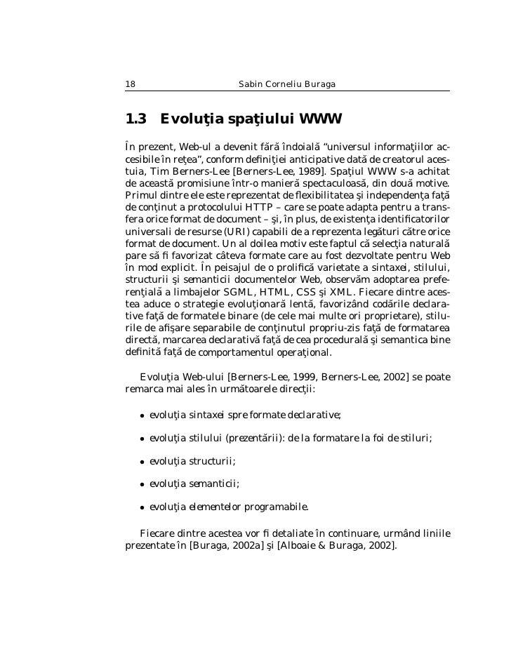 Arhitectura spa¸iului WWW                                           t                                        19   1.3.1 Ev...