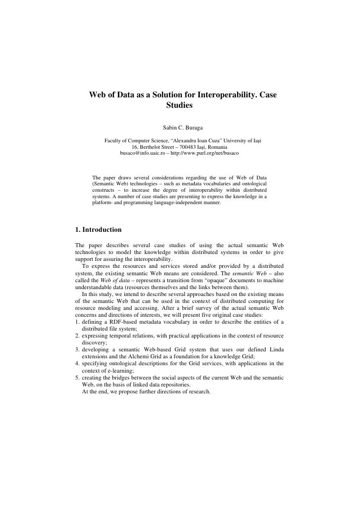 Web of Data as a Solution for Interoperability. Case                           Studies                                    ...