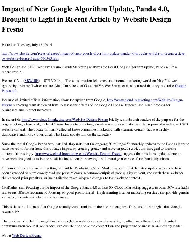 Impact of New Google Algorithm Update, Panda 4.0, Brought to Light in Recent Article by Website Design Fresno Posted on Tu...