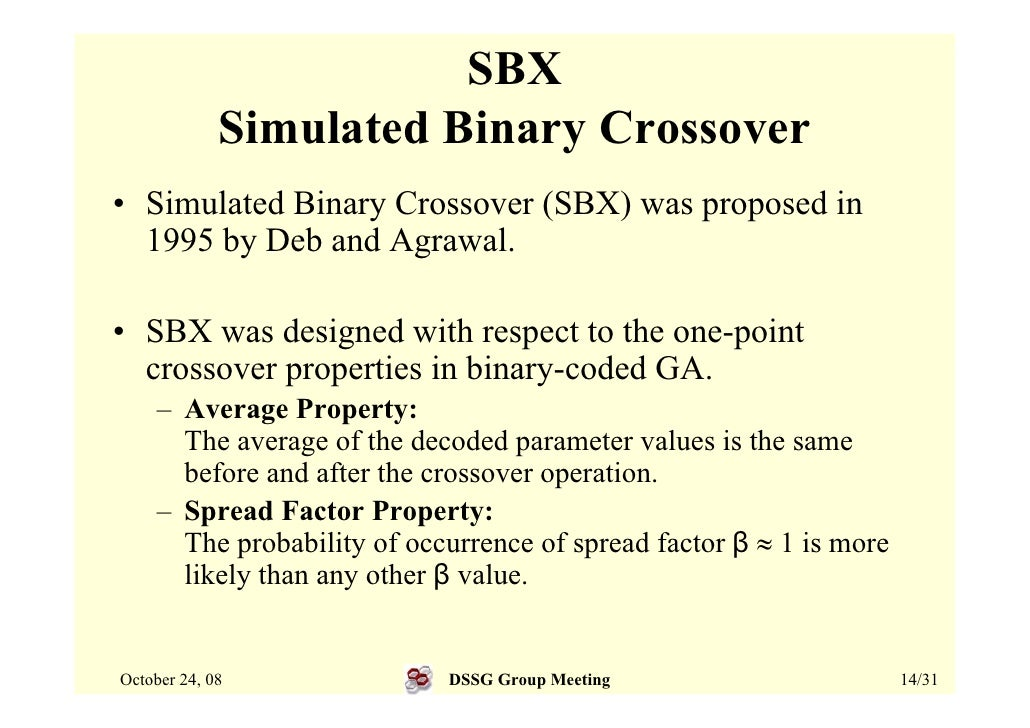 SBX              Simulated Binary Crossover • Simulated Binary Crossover (SBX) was proposed in   1995 by Deb and Agrawal. ...