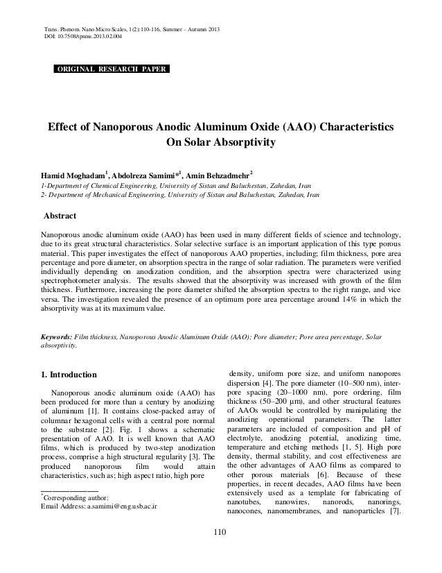 Trans. Phenom. Nano Micro Scales, 1(2):110-116, Summer – Autumn 2013 DOI: 10.7508/tpnms.2013.02.004 110 ORIGINAL RESEARCH ...