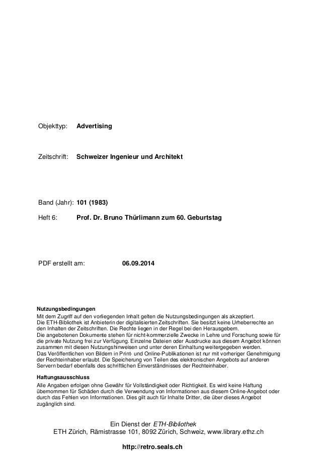 Objekttyp: Advertising  Zeitschrift: Schweizer Ingenieur und Architekt  Band (Jahr): 101 (1983)  Heft 6: Prof. Dr. Bruno T...