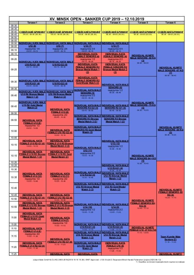 XV. MINSK OPEN - SANKER CUP 2019 – 12.10.2019 Татами 1 Татами 2 Татами 3 Татами 4 Татами 5 Татами 6 08:30 СУДЕЙСКИЙ БРИФИН...