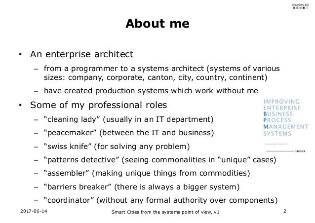 Smart Cities from the systems point of view Slide 2