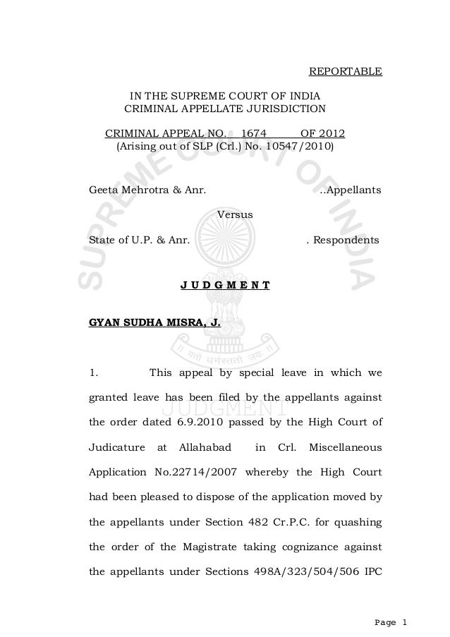 REPORTABLE         IN THE SUPREME COURT OF INDIA        CRIMINAL APPELLATE JURISDICTION     CRIMINAL APPEAL NO. 1674      ...