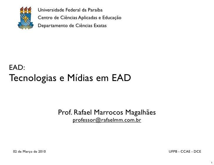 Universidade Federal da Paraíba                Centro de Ciências Aplicadas e Educação                Departamento de Ciên...