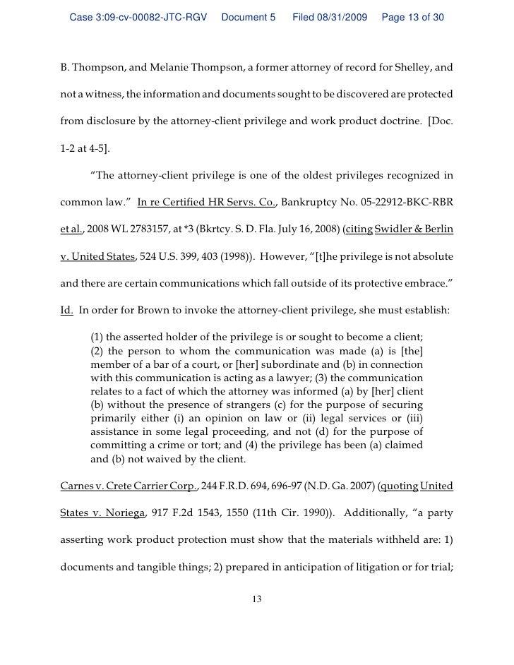 GEORGIA ORDER Denying Quash Subpoena Of S. Brown