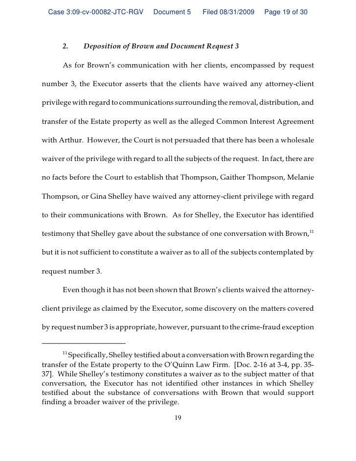 GEORGIA ORDER Denying Quash Subpoena Of S Brown - Deposition invoice template