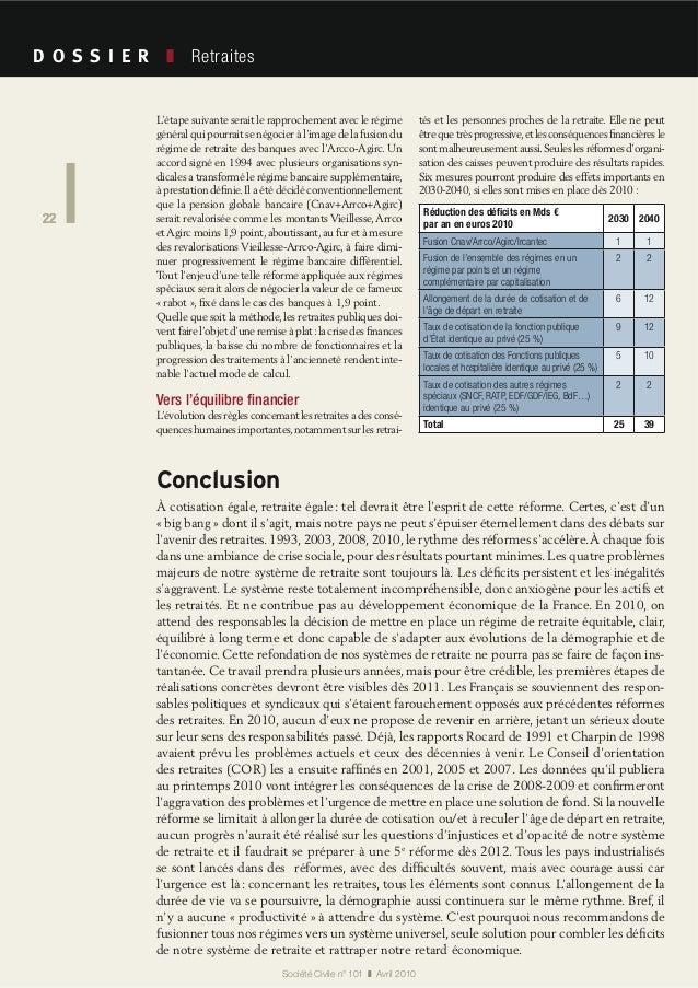 22 Société Civile n° 101 Avril 2010 Retraites 22 À cotisation égale, retraite égale: tel devrait être l'esprit de cette ré...