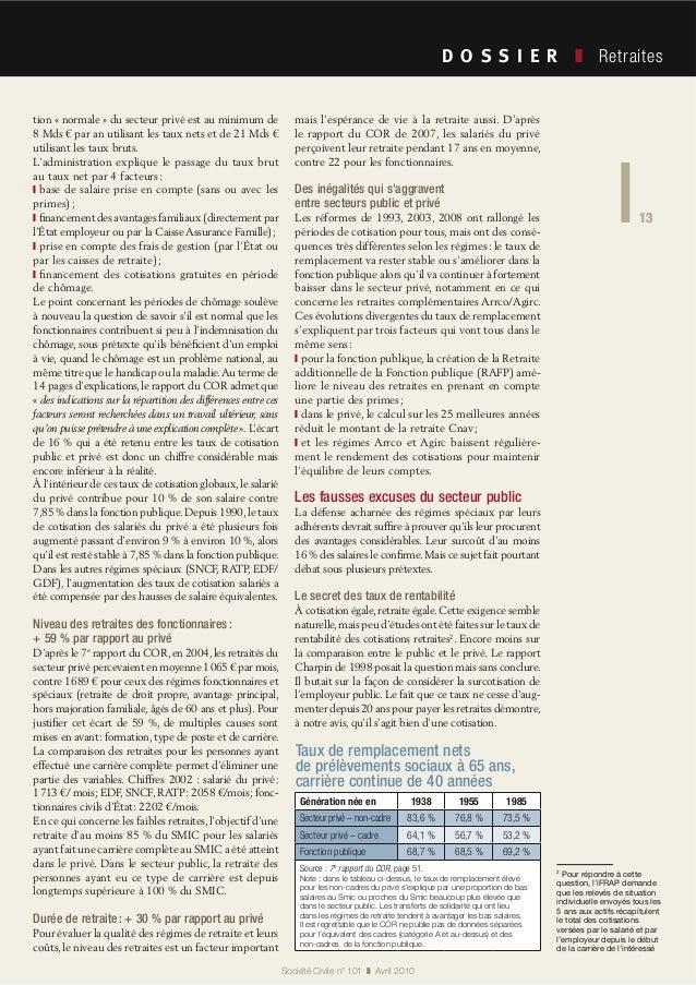 13 Société Civile n° 101 Avril 2010 Retraites 13 tion « normale » du secteur privé est au minimum de 8 Mds € par an utilis...