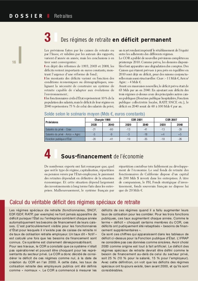 16 Société Civile n° 101 Avril 2010 Retraites 16 De nombreux experts ont fait remarquer que, quel que soit le type de régi...