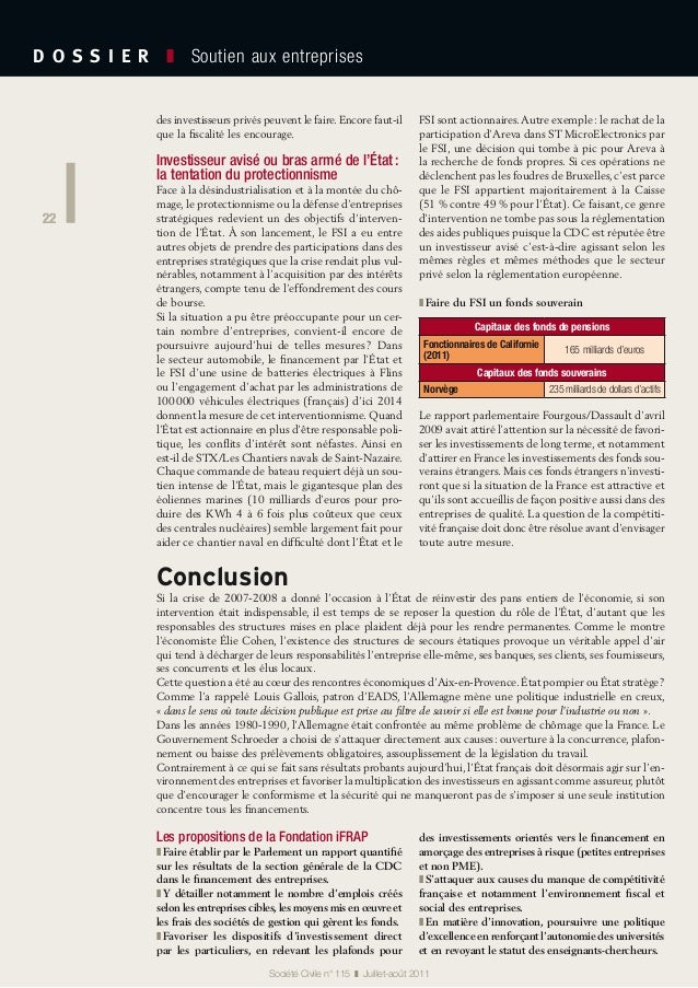 22 D O S S I E R  ❚ Soutien aux entreprises 22 Société Civile n° 115 ❚ Juillet-août 2011 des investisseurs privés peuv...