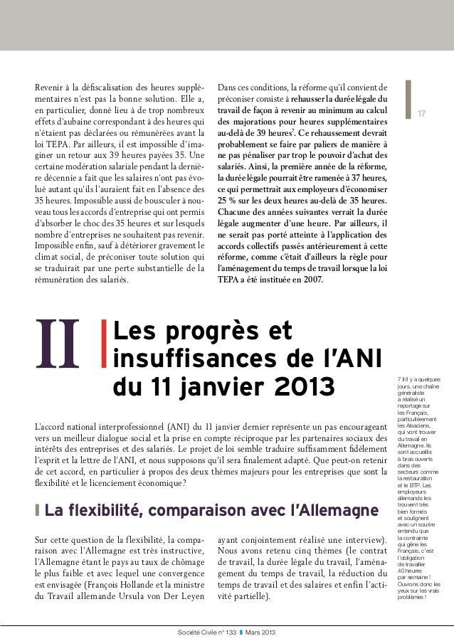 17 Société Civile n° 133 ❚ Mars 2013 Revenir à la défiscalisation des heures supplé- mentaires n'est pas la bonne soluti...