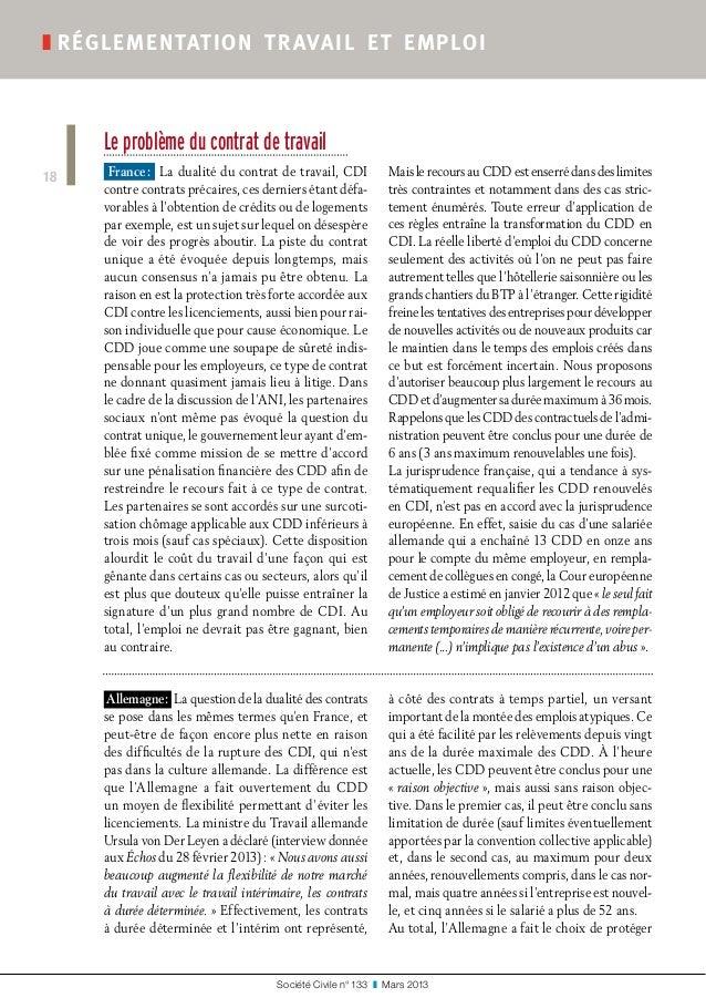 Société Civile n° 133 ❚ Mars 2013 ❚réglementation travail et emploi 18 Le problème du contrat de travail France: La du...