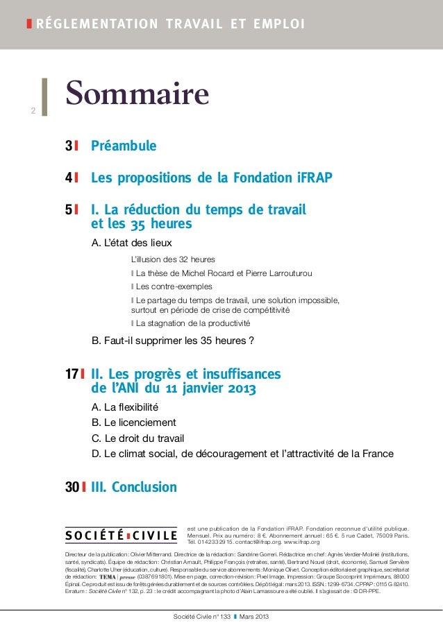 Sommaire 3 ❙  Préambule 4 ❙  Les propositions de la Fondation iFRAP 5 ❙  I. La réduction du temps de travail et les 3...