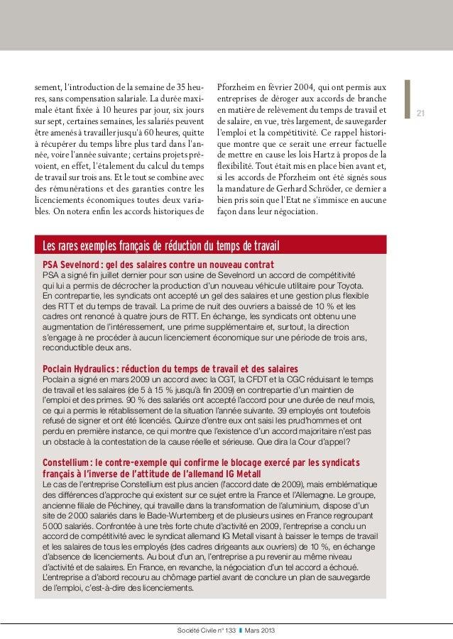 Les rares exemples français de réduction du temps de travail PSA Sevelnord: gel des salaires contre un nouveau contrat PS...