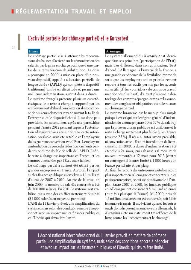 Société Civile n° 133 ❚ Mars 2013 ❚réglementation travail et emploi 22 L'activité partielle (ex-chômage partiel) et le ...