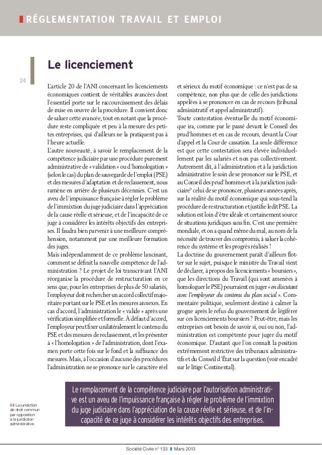 Société Civile n° 133 ❚ Mars 2013 ❚réglementation travail et emploi 24 Le licenciement 9 ❙ La juridiction de droit comm...