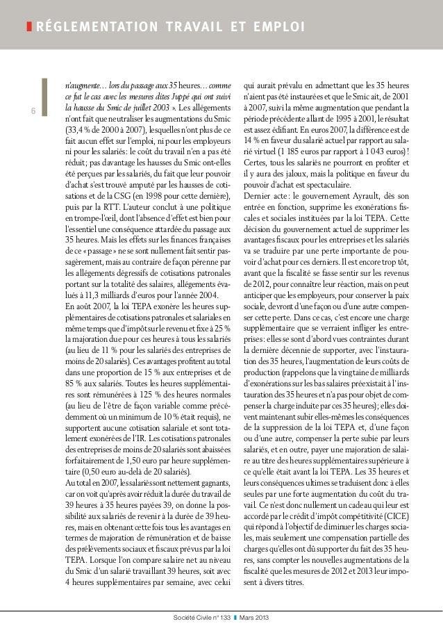 Société Civile n° 133 ❚ Mars 2013 ❚réglementation travail et emploi 6 n'augmente… lors du passage aux 35heures… comme ...