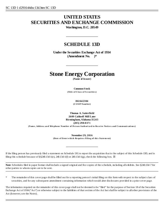 Schedule 13D - Stone Energy Corporation - Largest Shareholder Opposes…