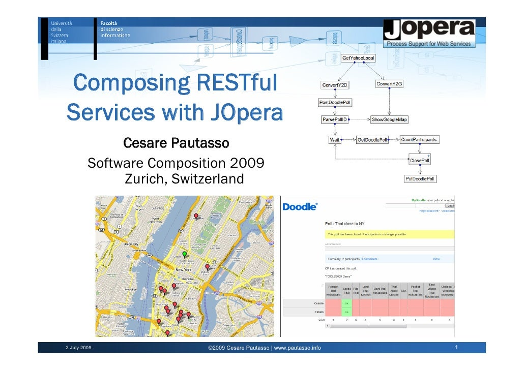 Composing RESTful Services with JOpera               Cesare Pautasso          Software Composition 2009               Zuri...