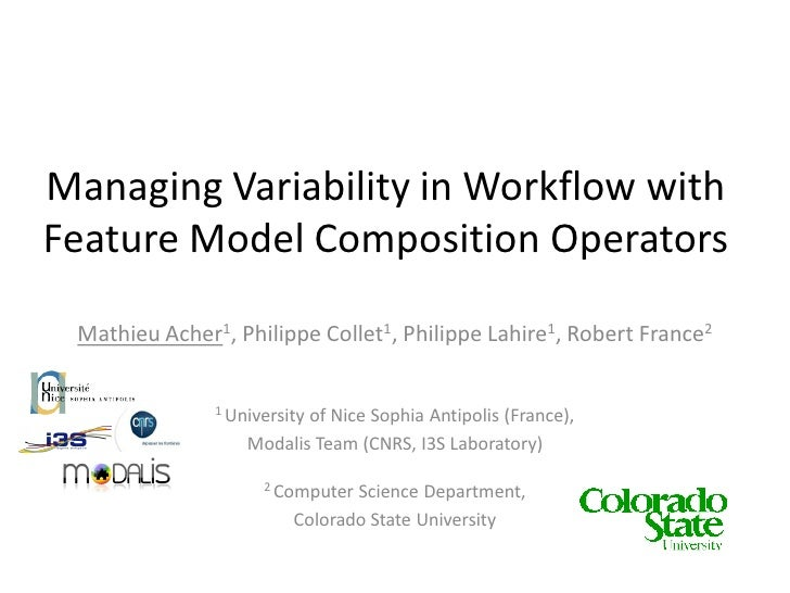 Managing Variability in Workflow with  Feature Model Composition Operators