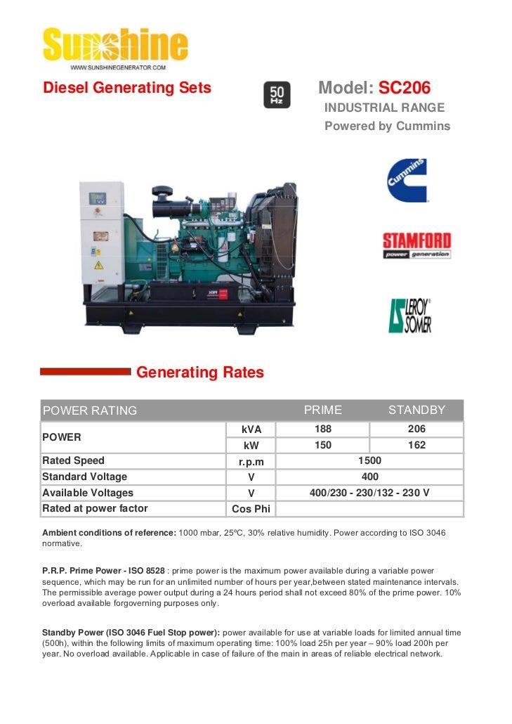 Diesel Generating Sets                                                   Model: SC206                                     ...