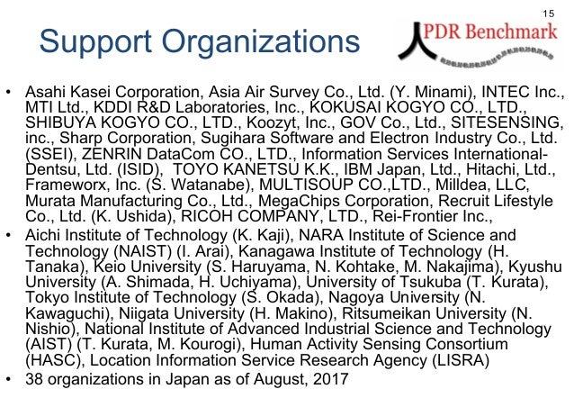 Support Organizations • Asahi Kasei Corporation, Asia Air Survey Co., Ltd. (Y. Minami), INTEC Inc., MTI Ltd., KDDI R&D Lab...
