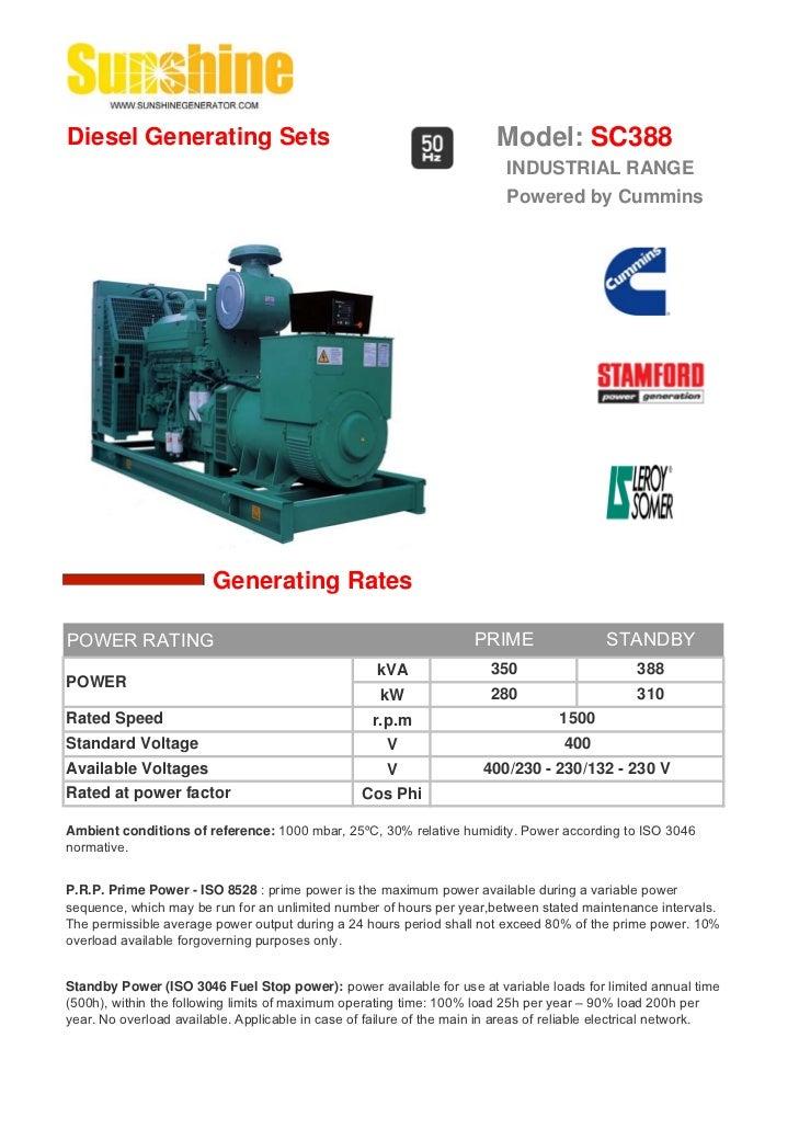 Diesel Generating Sets                                                   Model: SC388                                     ...