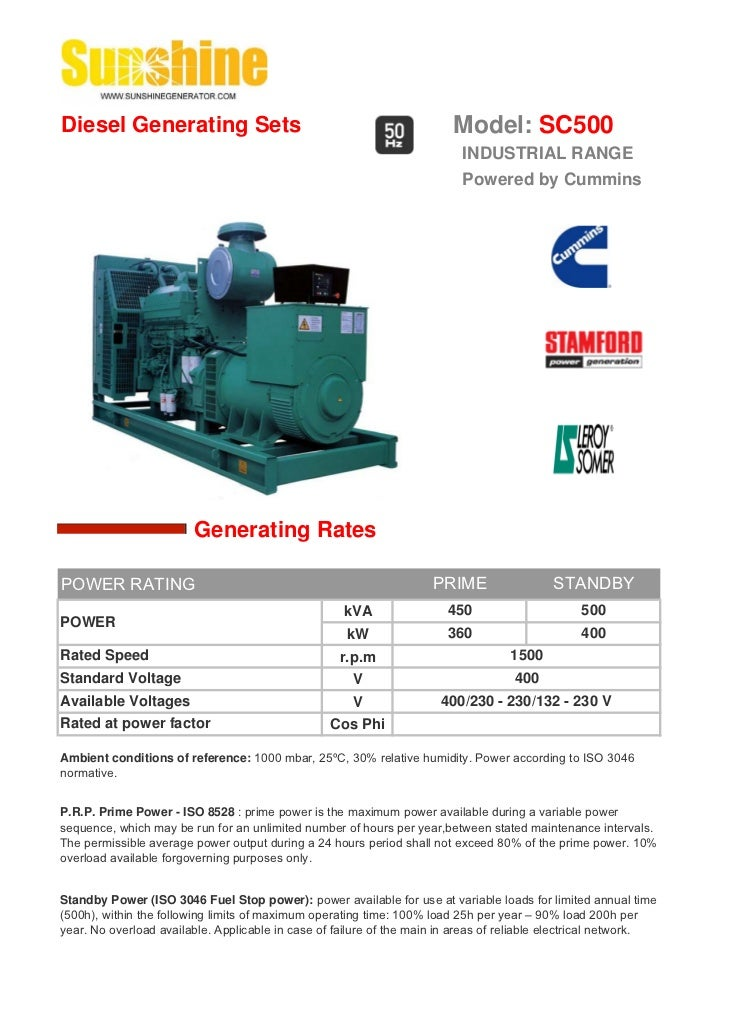 Diesel Generating Sets                                                   Model: SC500                                     ...