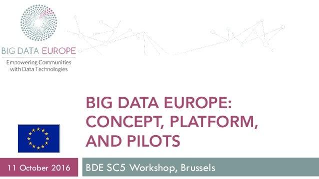 BIG DATA EUROPE: CONCEPT, PLATFORM, AND PILOTS BDE SC5 Workshop, Brussels11 October 2016