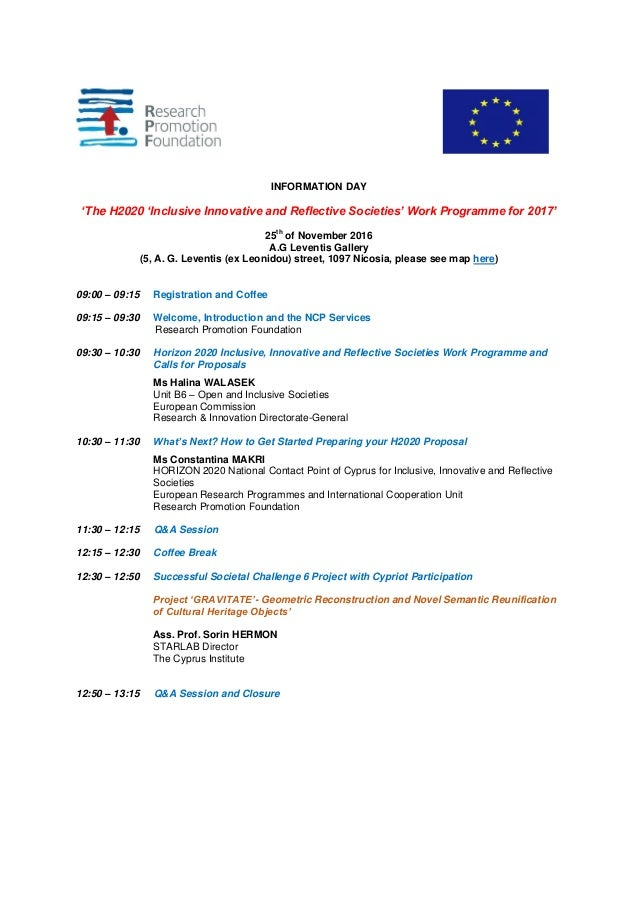 INFORMATION DAY 'The H2020 'Inclusive Innovative and Reflective Societies' Work Programme for 2017' 25th of November 2016 ...