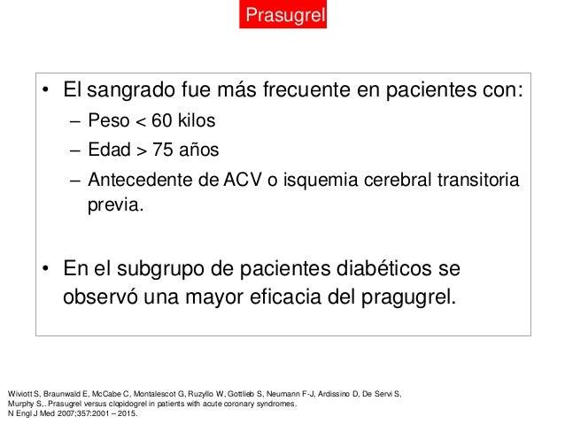 Prasugrel            • 9.326 pacientes con SCA sin ST y AI, no              revascularizados.            • Prasugrel 10 mg...