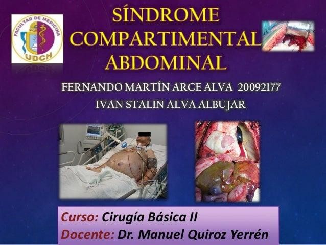 FERNANDO MARTÍN ARCE ALVA 20092177 IVAN STALIN ALVA ALBUJAR Curso: Cirugía Básica II Docente: Dr. Manuel Quiroz Yerrén