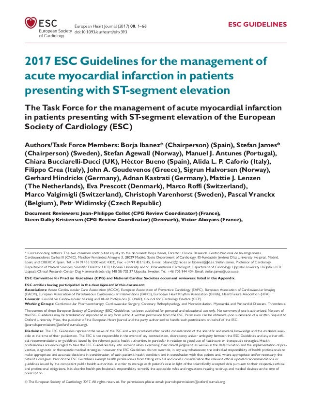 2017 ESC Guidelines for the management of acute myocardial infarction in patients presenting with ST-segment elevation The...